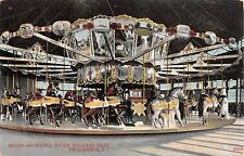 c.1910 Merry Go Round Interior Roger Williams Park Providence RI post card