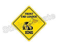 "*Aluminum* Front End Loader Crossing Funny Metal Novelty Sign 12""x12"""