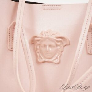 NWT Versace Made in Italy Pink Grained Leather Vanitas Medusa Large Tote Bag NR