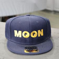 Men's Mooneyes MOON Logo Flat Bill Snapback Wool Blend Baseball Hat Navy Blue