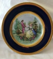 Tharaud Limoges France Travaille Main dessert plate cobalt blue with gold trim