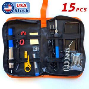 15pcs 60W Adjustable Temperature Welding Tool, Soldering Iron Kit Electronics