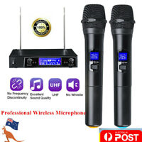 Professional Microphone Wireless UHF 2 Channel Mic System Dual Handheld Karaoke