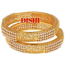 DISHI Indian Wedding Bollywood Ethnic Traditional Gold Plated Pearl Bangles