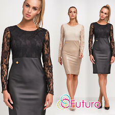 Womens Stylish Lacy Pencil Dress Eco Leather Long Sleeve Formal Sizes 8-14 FA452