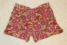 Chelsea & Violet Multi Colored Retro Paisley Pleated Cuffed Dress Shorts Size S