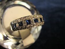 18k White Gold Vintage Diamond Sapphire Channel Wedding Band Ring, US 8, 8.3g