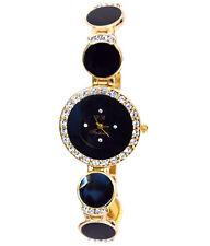 Gold Plate Black Stone Women Watch with diamonds