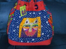 Laurel Burch Cat Bucket Purse Blue and Multi Color with Sequins Kitties Bag Tote