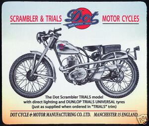 1 x DOT 1950's BRITISH TRIALS MOTORCYCLE, VILLIERS, MOUSE MAT OR SMALL TABLE MAT