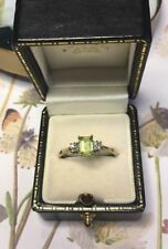 Attractive Emerald Cut Peridot And Diamond 9ct Gold Ring Reduced Now £99.99