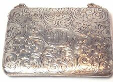 VERY RARE?---ANTIQUE STERLING CHANGE PURSE-LEATHER POCKETS---A GREAT COLLECTIBLE