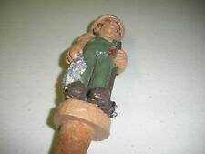 Ceramic Whiskey Bottle Stopper Fisherman  with Rod And Fish Detailed signed