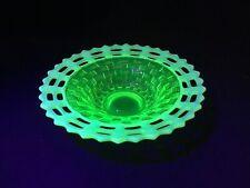 Fenton Uranium Basket weave Bowl, Topaz Opalescent Yellow Vaseline Lattice Edge