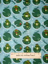 Avlyn Before The Kiss Frog Prince Ribbit Dragonfly Lily Cotton Fabric HALF YARD