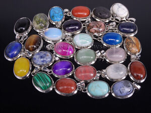 Natural Gemstone Crystal Oval Reiki Chakra Pendant Charms Silver Plated