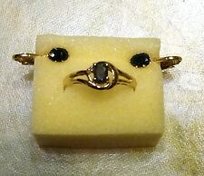 Vintage Dk Blue Topaz Gold tone Ring Size 9 & Matching BlueTopaz Clip Earrings