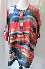 Lafayette 148  Blouse M Silk Top Short Sleeve Multi Color Abstract Tunic Cut Big
