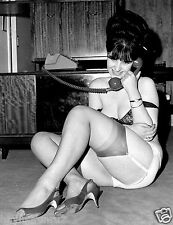 1960s Pinup in garters & stockings on the floor on the phone 8 x 10 Photograph