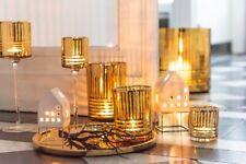 Teelichthalter Haus Mordern Porzellan Weiß Gold 13 cm Weihnachten Dekoration