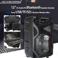 "HIFI 12"" PA Bluetooth Speaker Audio Karaoke 7A battery USB/TF/SD Remote 2 MICS"