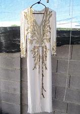 aw9) Vintage Oleg Cassini Ivory Pearl Sequins Flapper Wedding/Evening Gown Dress