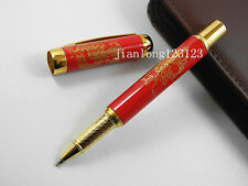 Chinese Ceramic red Gloden Dragon Painting Trim Roller ball Pens