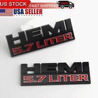 2pcs RAM 1500 Black Red Hemi 5.7 LITER Side Fender Emblem Badges 3D Decal OEM