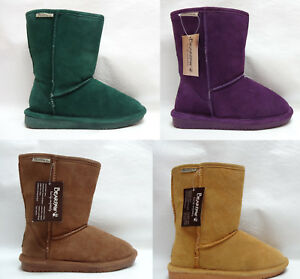 BEARPAW womens Cold Weather Winter EMMA Short Sheep Fur suede boots 5 6 NEW
