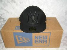 New Era 5950 NY NEW YORK YANKEES Black-Black Cap MLB Baseball Fitted Hat 7 1/8