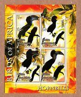HORNBILLS - Birds of Africa MNH VF Minisheets of 4 q50