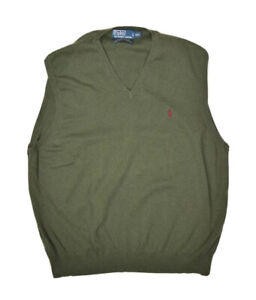 Polo Ralph Lauren Sweater Vest Mens 2XL Green V Neck Pima Cotton Lightweight