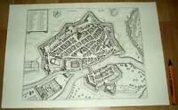 Kassel alte Ansicht Merian Druck Stich 1650 (schw) Städteansicht Hessen