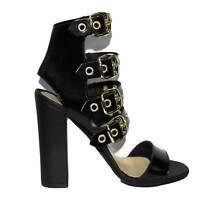 Sandali tacco doppio nero pelle art.st9048 made in italy accessori fibbia oro mo