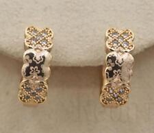 18K Gold Filled -  Clover Flower Laser Carved White Topaz Pageant Women Earrings