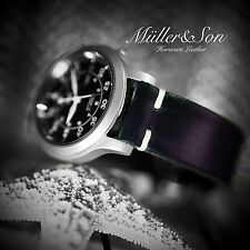 """Müller&Son Genuine Horween Leather Watch Strap 22mm Black - """"Dog Ears"""" Style"""