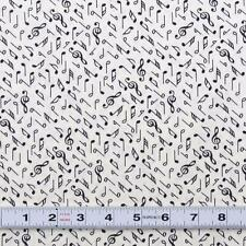 RITZ - Black on White by Kennards #6017/18W  - Music Fabric by the ½ metre