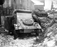 WWII Photo US Sherman Tank and German Kubelwagen  WW2 B&W World War Two / 2371