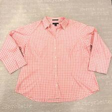 LANDS' END Pink White Plaid NO IRON 100% Cotton Button Shirt 3/4 Sleeve 18W EUC