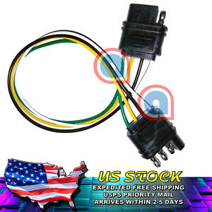 """4-Way, Flat extension cord 4 Pin 1' / 12"""" Trailer Light Harness for Car Boat RV"""