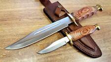 2 Piece Hunting Knife Set Fixed Blade Wood Handle Custom Leather Belt Sheath