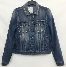 517cd898fce6c FALMER HERITAGE Womens Blue Cropped Denim Jacket Size 8 Long Sleeves Buttons