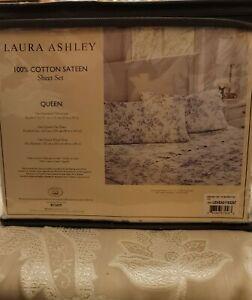 New Laura Ashley 100% Cotton Sateen QUEEN sheet Set 4 pcs Standard Pillowcase