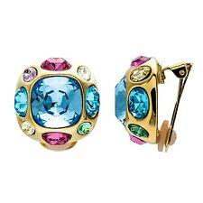 Kenneth Jay Lane gold w/ multi pastel aqua center earrings 4527ELMQ