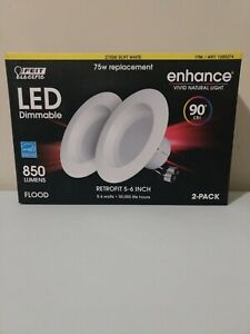 "Feit Electric LED Dimmable 75W Retrofit 5-6""Flood 850 Lumens Natural Light 2 pk"
