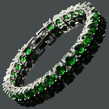 26X6Mm Round Cut Green Emerald Dainty Gemstone Cubic Zirconia Tennis Bracelet