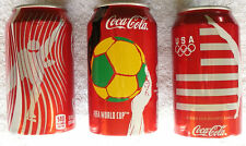 Lot of 3 Coca Cola Cans - 2012 London & 2014 Soshi Olympic & 2014 FIFA World Cup