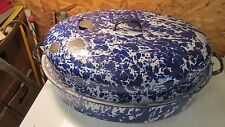 Antique Cobalt Swirl Graniteware Roaster Large