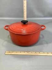 Red-Orange Le Creuset Enamel Cast Iron Pot w/Lid