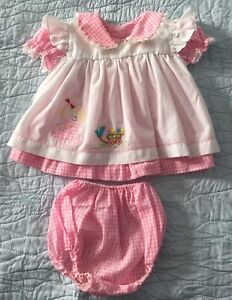 Vintage Pink gingham frilly baby dress+bloomers white overlay 20inch chest 1980s